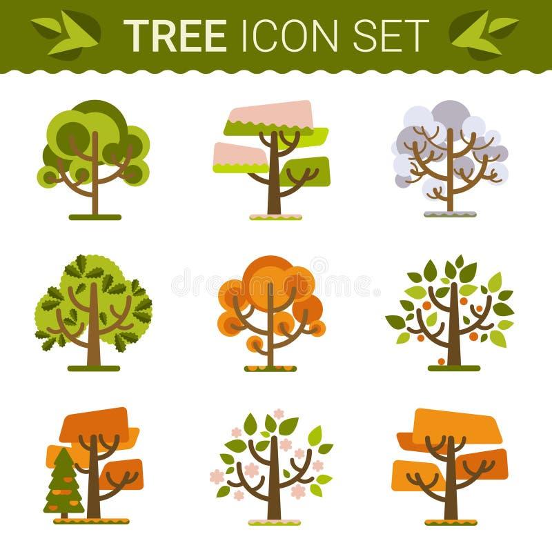 Set różni drzewa, skały, trawa Sprites dla gry Wektorowe płaskie las ilustracje ilustracja wektor
