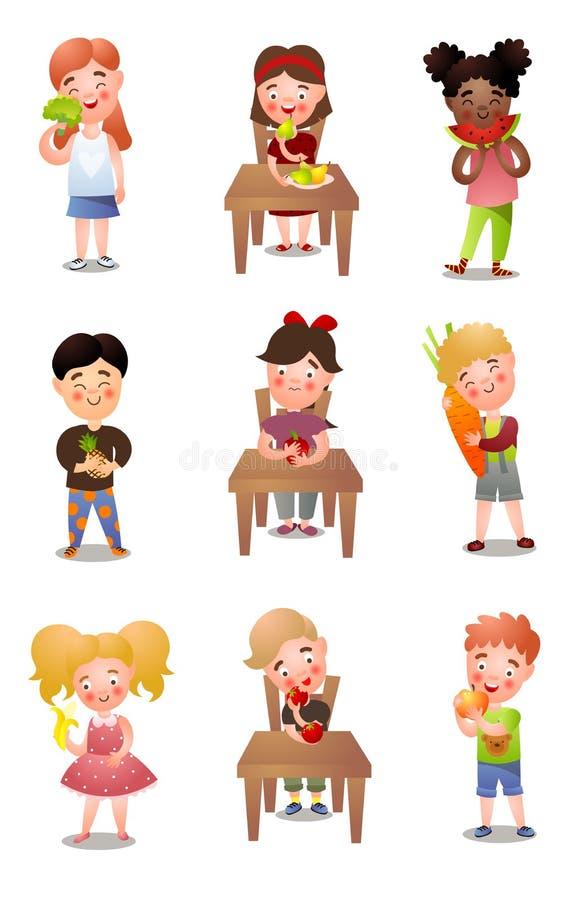 Set różni dzieciaki ten łasowanie zdrowa świeża żywność ilustracja wektor