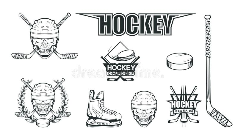 Set różni elementy dla hokejowy bawić się Hokejowy hełm Fachowe lodowe łyżwy ilustracyjne Czaszka z hokejowym hełmem ilustracja wektor