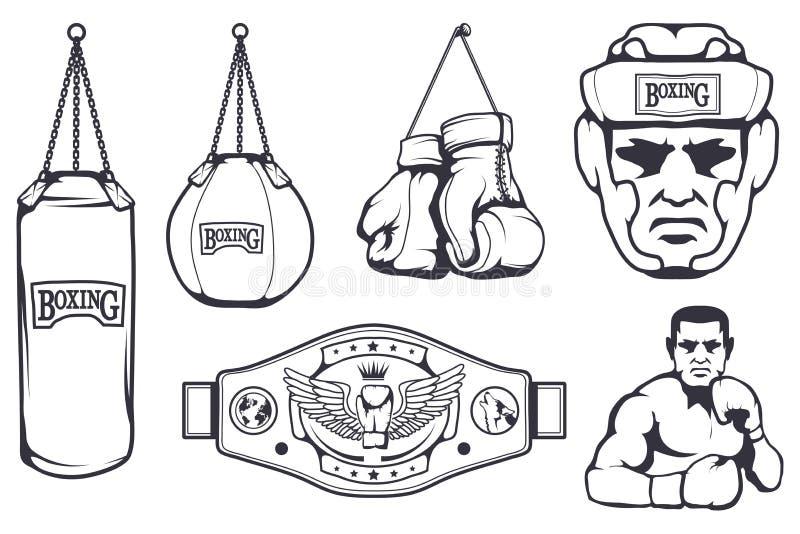 Set różni elementy dla pudełkowatego projekta - bokserskie rękawiczki, boksera mężczyzna, bokserski hełm, boksuje pasek Sporta wy royalty ilustracja