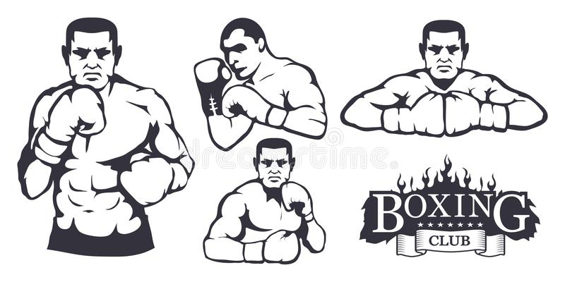 Set różni elementy dla pudełkowatego projekta - bokserskie rękawiczki, boksera mężczyzna Sporta wyposażenia set r Sporta klubu lo ilustracja wektor