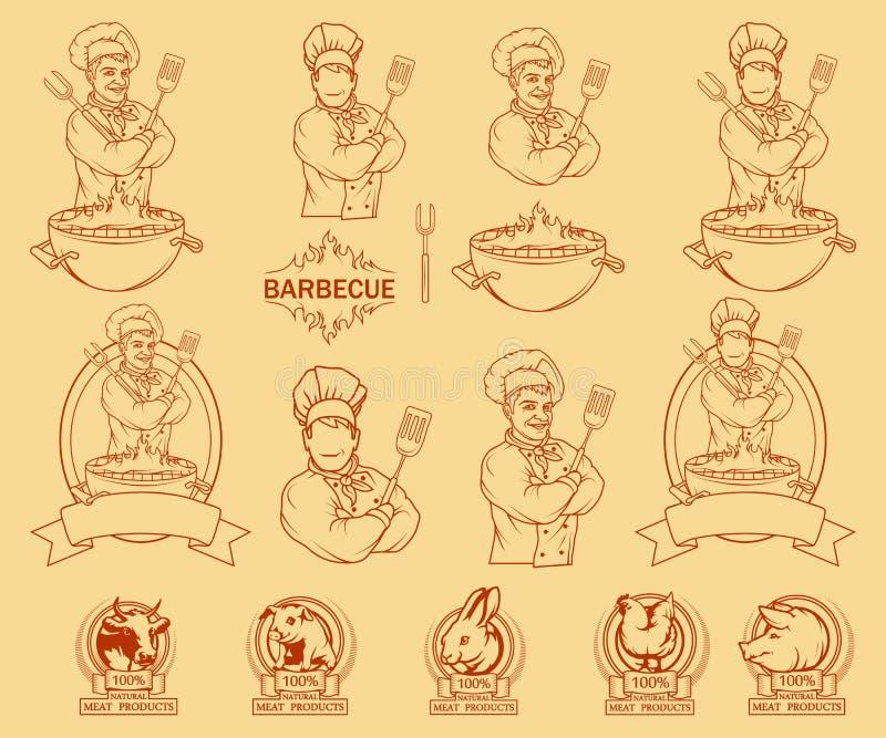 Set różni elementy grill i szef kuchni ilustracja wektor