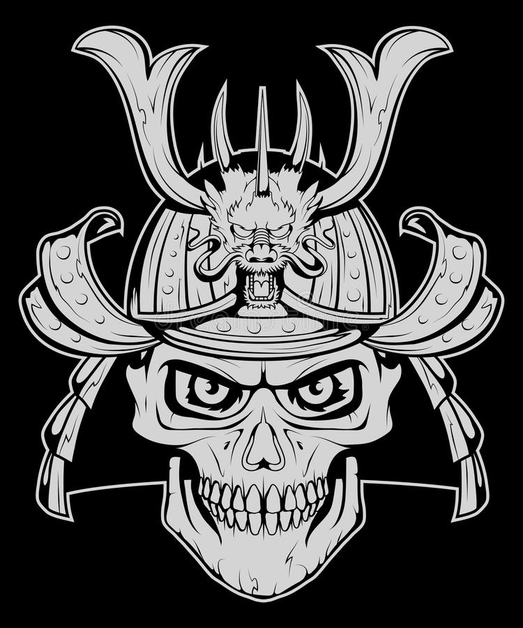 Set różni elementy samuraja projekt - samuraj maska, hełm, czaszka Maska samuraja wojownik z kordzikiem ilustracja wektor