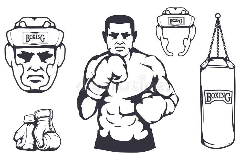 Set różni elementy uderza pięścią torbę dla pudełkowatego projekta - boksujący hełm, bokserskie rękawiczki, boksera mężczyzna Spo ilustracji