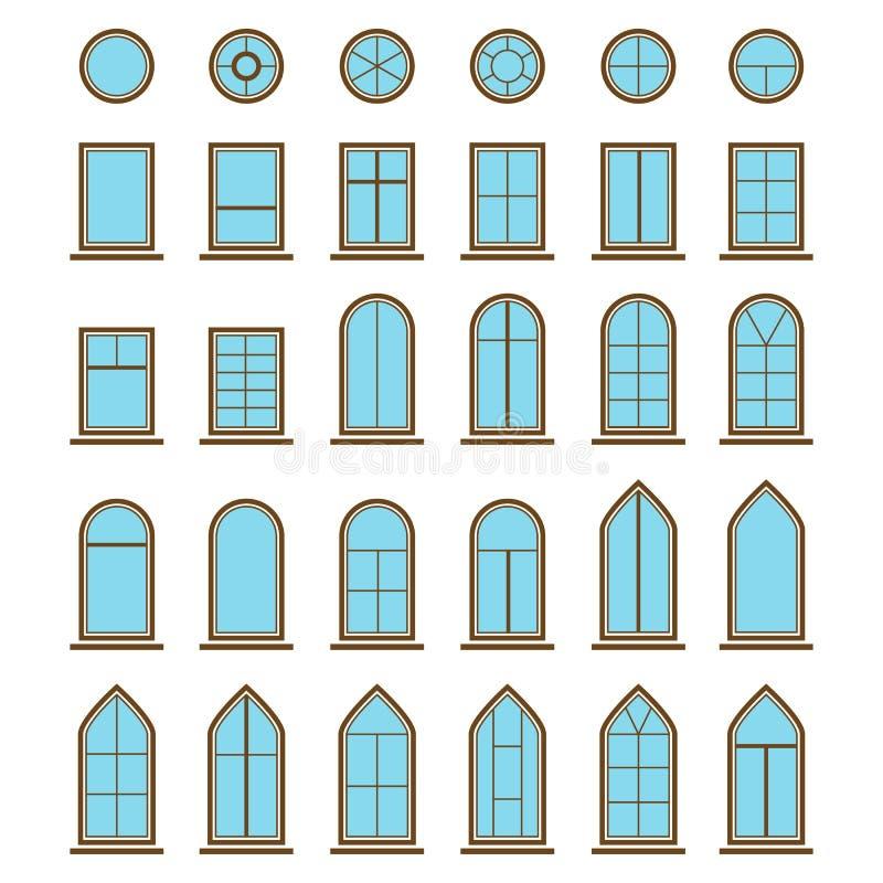 Set różni ikony windowpane i okno typ royalty ilustracja