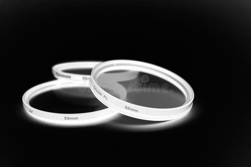 Set różni kamera filtry obraz stock