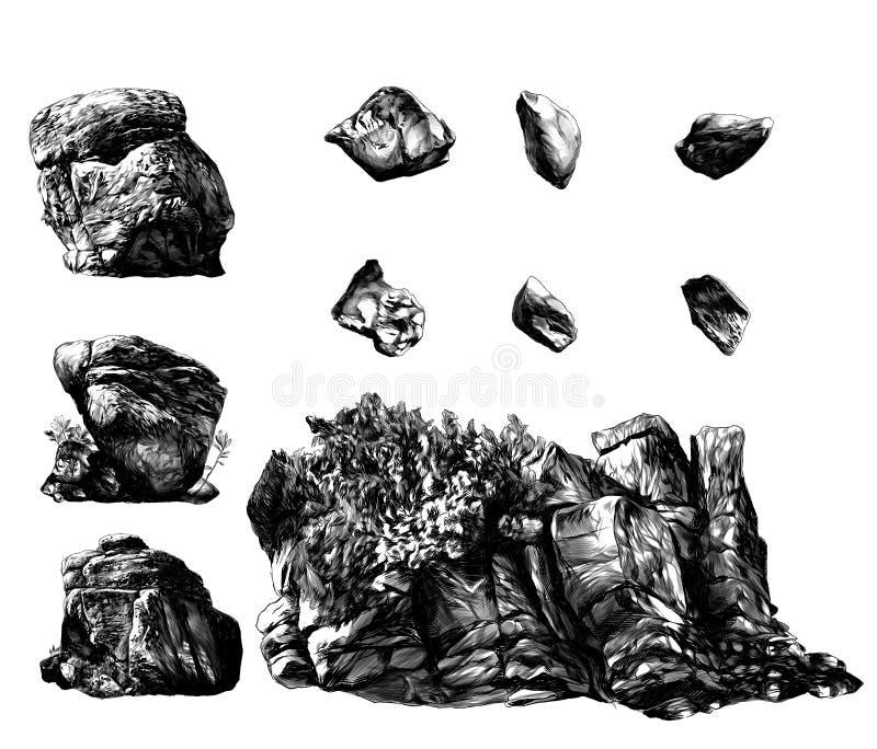 Set różni kamieni głazy, skały z drzewami i roślinnością i ilustracja wektor