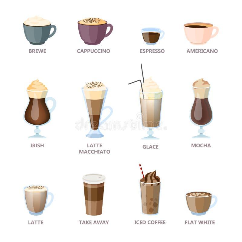 Set różni kawowi typy Americano i cappuccino ilustracja wektor