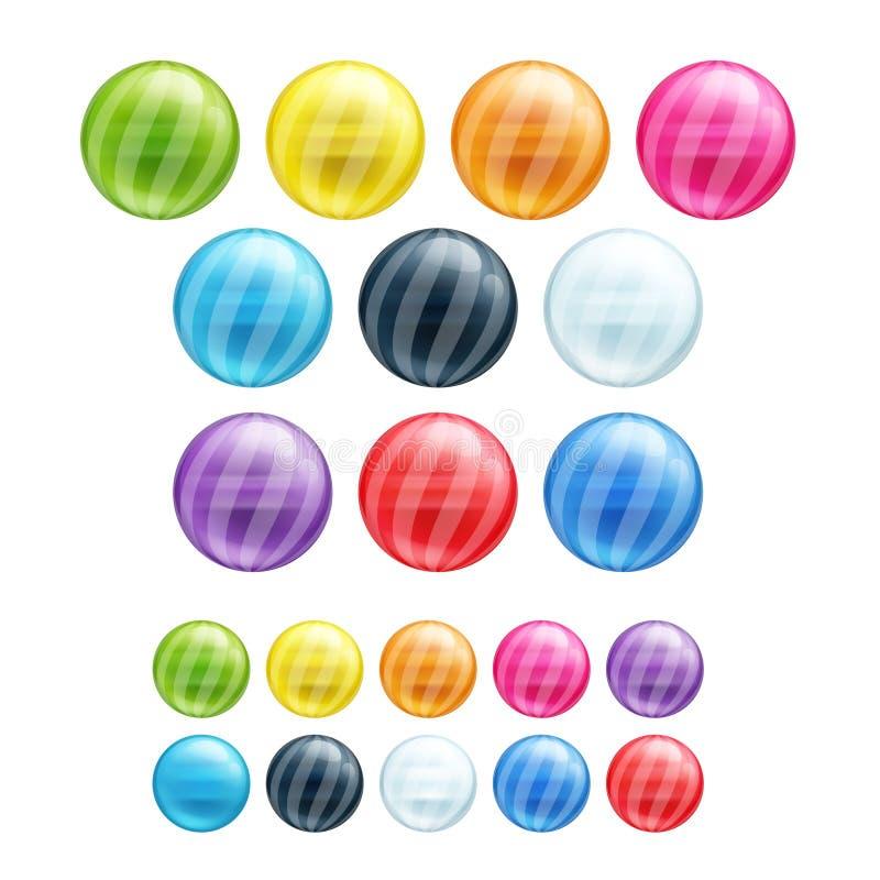 Set różni kolorowi round pasiaści koraliki royalty ilustracja