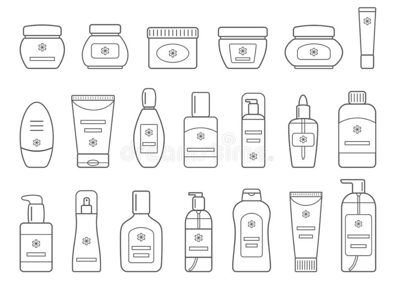 Set różni kosmetyczni produkty Na bia?ym tle Kontur inkasowe ikony dla sieć projekta royalty ilustracja