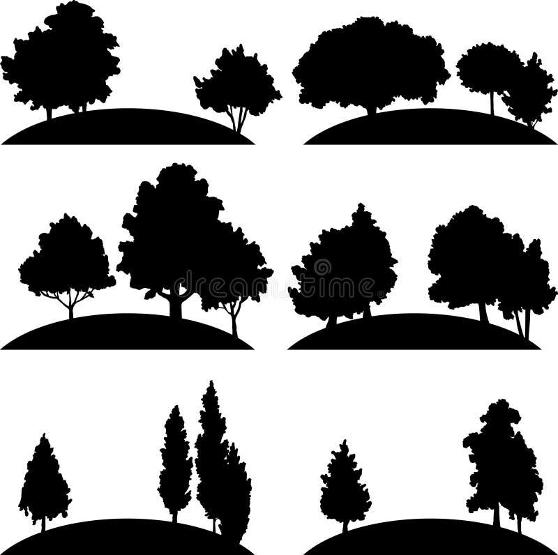Set różni krajobrazy z drzewami ilustracja wektor