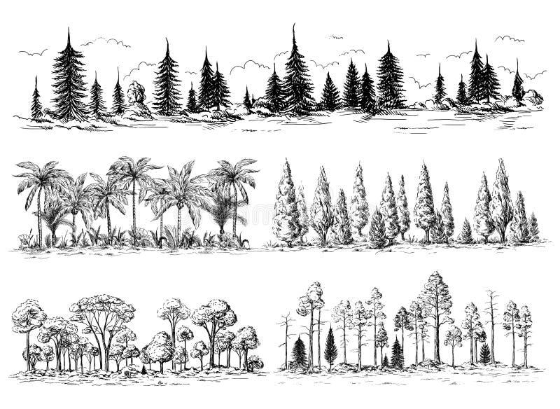 Set różni krajobrazy z drzewami ilustracji