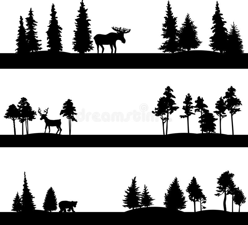 Set różni krajobrazy z drzewami i zwierzętami royalty ilustracja