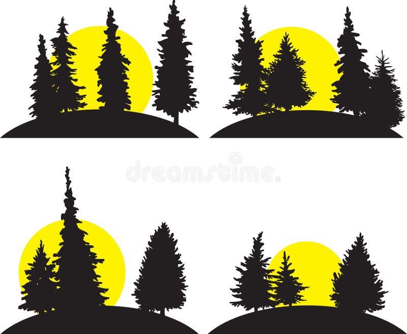 Set różni krajobrazy z powstającym słońcem royalty ilustracja