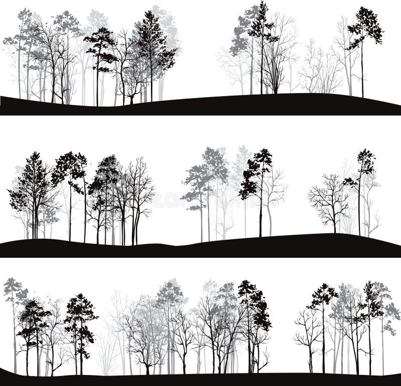 Set różni krajobrazy z sosnami ilustracji