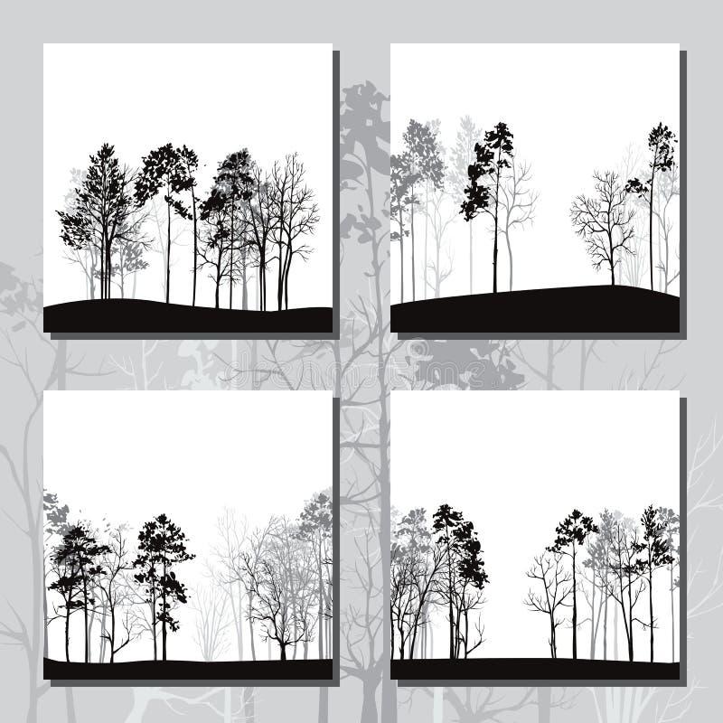 Set różni krajobrazy z sosnami royalty ilustracja