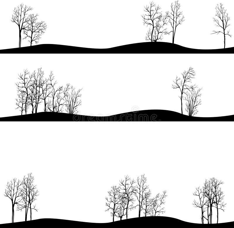 Set różni krajobrazy z zim drzewami ilustracji