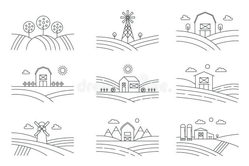 Set różni kreskowi eco gospodarstwa rolnego krajobrazy odizolowywający na białym tle Wiejski krajobraz z wiatraczkiem, kiszonki w ilustracji