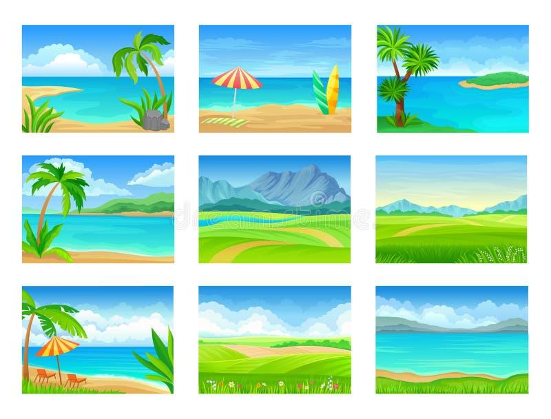 Set różni lato krajobrazy t?a ilustracyjny rekinu wektoru biel royalty ilustracja