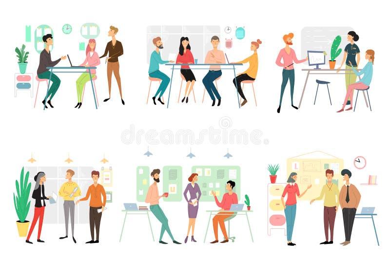 Set różni ludzie biznesu pracuje w biurze Brainstorming, opowiadający dyskutować zaczyna w górę pomysłów, przedstawia projekt royalty ilustracja