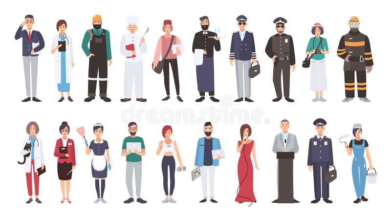 Set różni ludzie zawodów Płaska ilustracja Kierownik, lekarka, budowniczy, kucharz, listonosz, kelner, pilot, policjant ilustracji