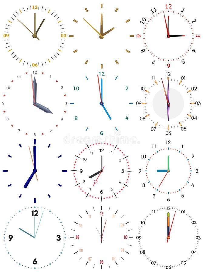 Set różni machinalni zegary z wizerunkiem each dwanaście godzin ilustracja wektor