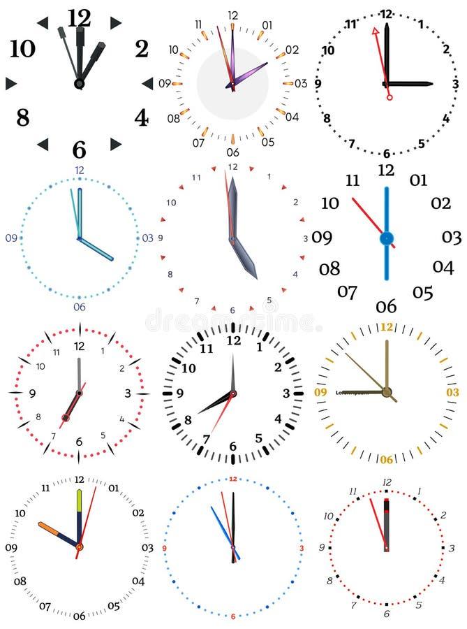 Set różni machinalni zegary z wizerunkiem each dwanaście godzin royalty ilustracja