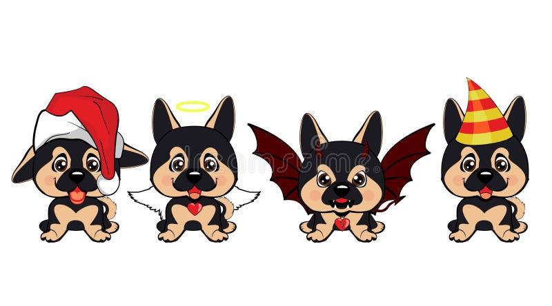 Set różni mali psy Brown szczeniaki z różnymi emocjami ilustracji