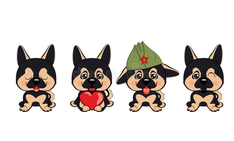 Set różni mali psy Brown szczeniaki z różnymi emocjami royalty ilustracja