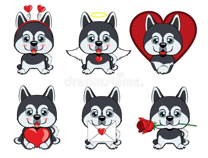 Set różni mali psy szczeniaki z różnymi emocjami ilustracji