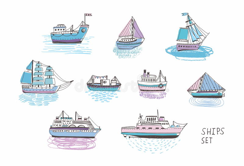 Set różni odosobneni doodle statki, jachty, łodzie, żegluje rzemiosło, żaglówka, nautyczny naczynie Morze transport royalty ilustracja