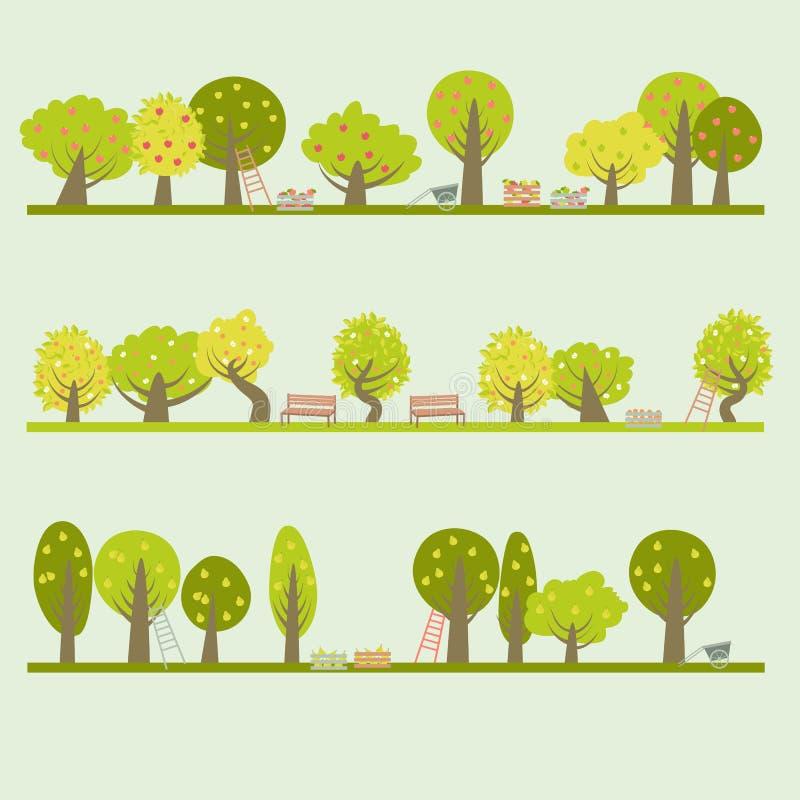 Set różni owocowi drzewa ilustracja wektor