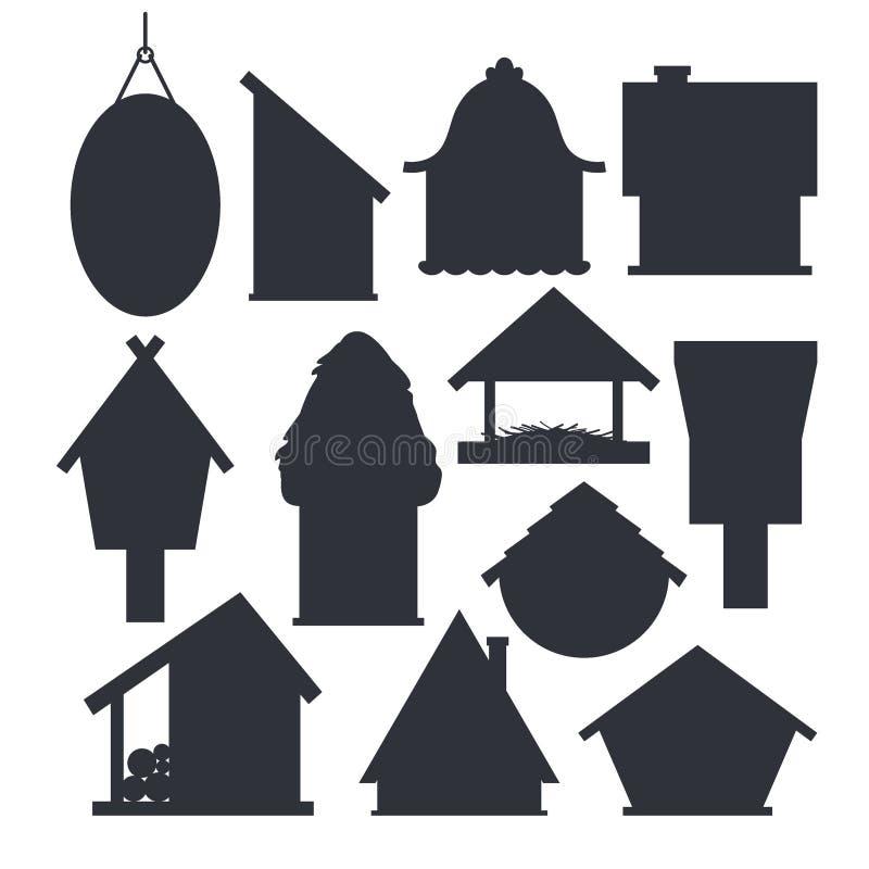 Set różni ptasi domy w monochromatycznym kolorze odizolowywającym na białym tle Kresk?wki gniazdowa? domowej roboty pude?ka dla p royalty ilustracja
