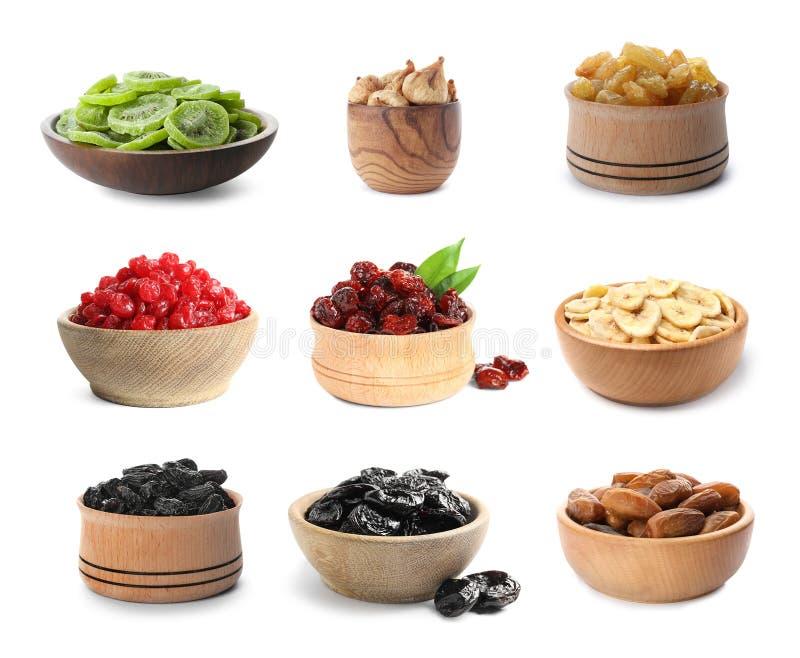 Set różni puchary z wyśmienicie wysuszonymi owoc obrazy stock