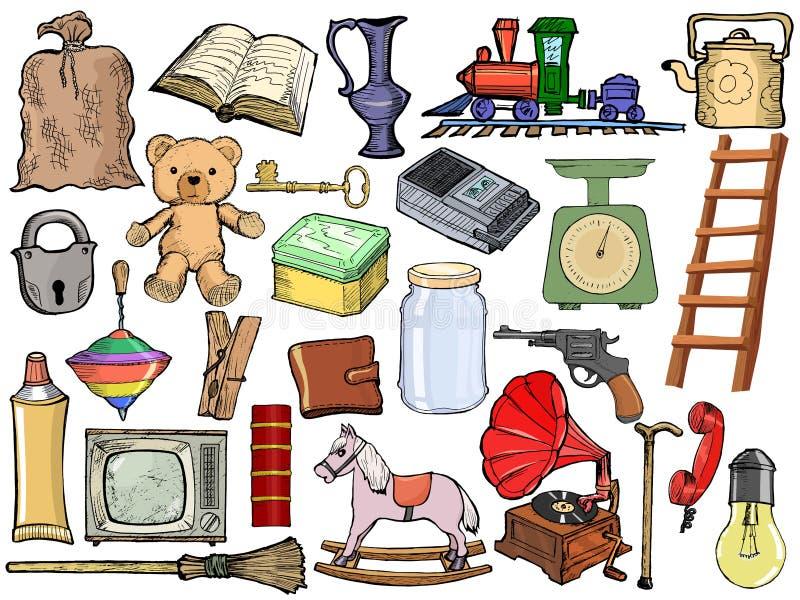 Set różni roczników przedmioty royalty ilustracja