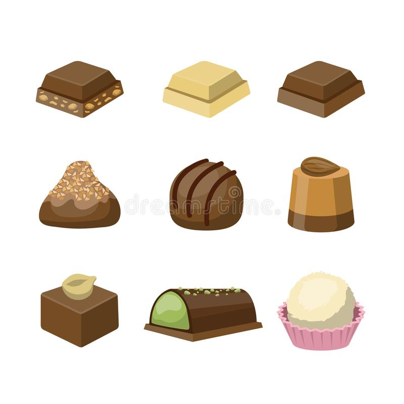 Set różni smakowici wyśmienicie czekoladowi cukierki royalty ilustracja