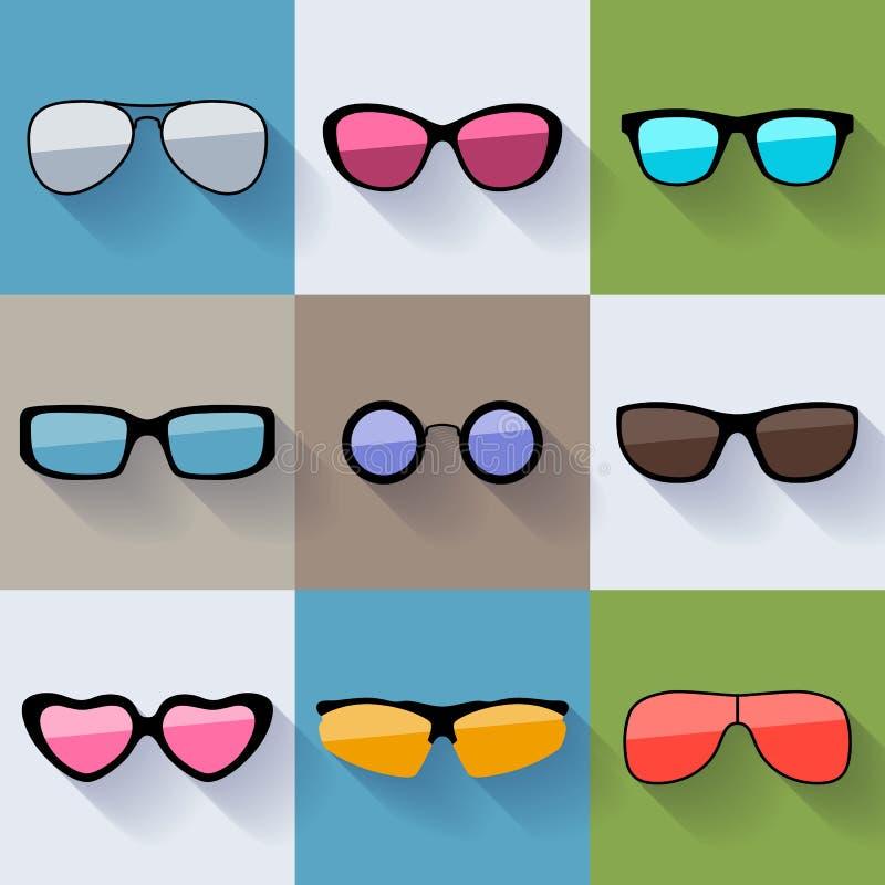 Set różni stylów okulary przeciwsłoneczni ilustracja wektor