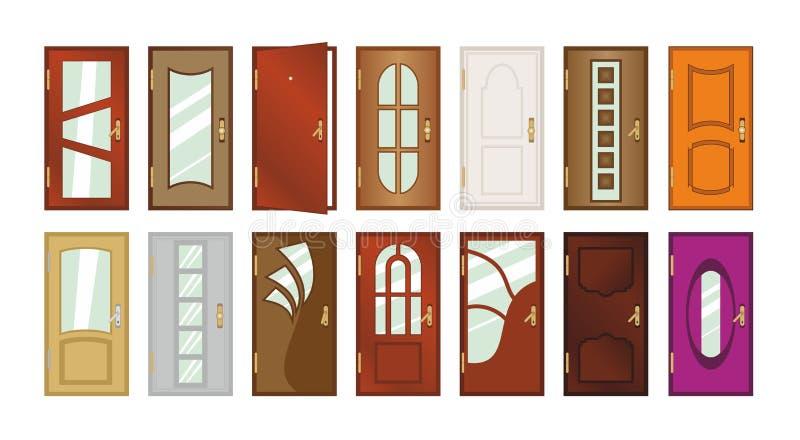 Set różni typ drzwi royalty ilustracja