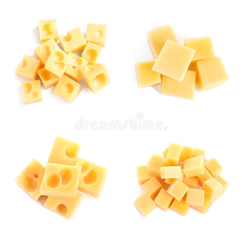 Set różni wyśmienicie serowi sześciany na białym tle zdjęcia royalty free