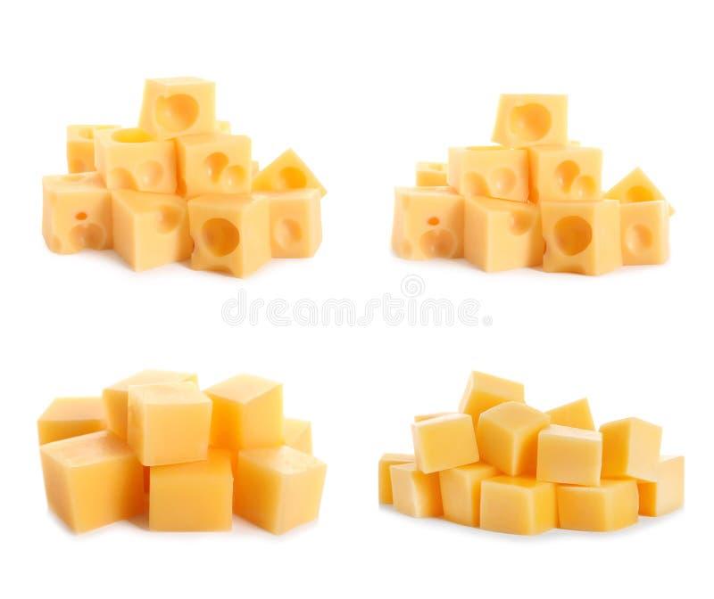 Set różni wyśmienicie serowi sześciany na bielu obraz royalty free