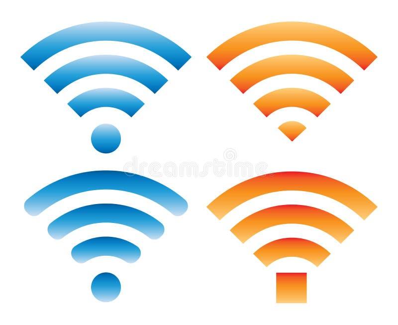 Set różni znaki z wifi sygnałem ilustracji