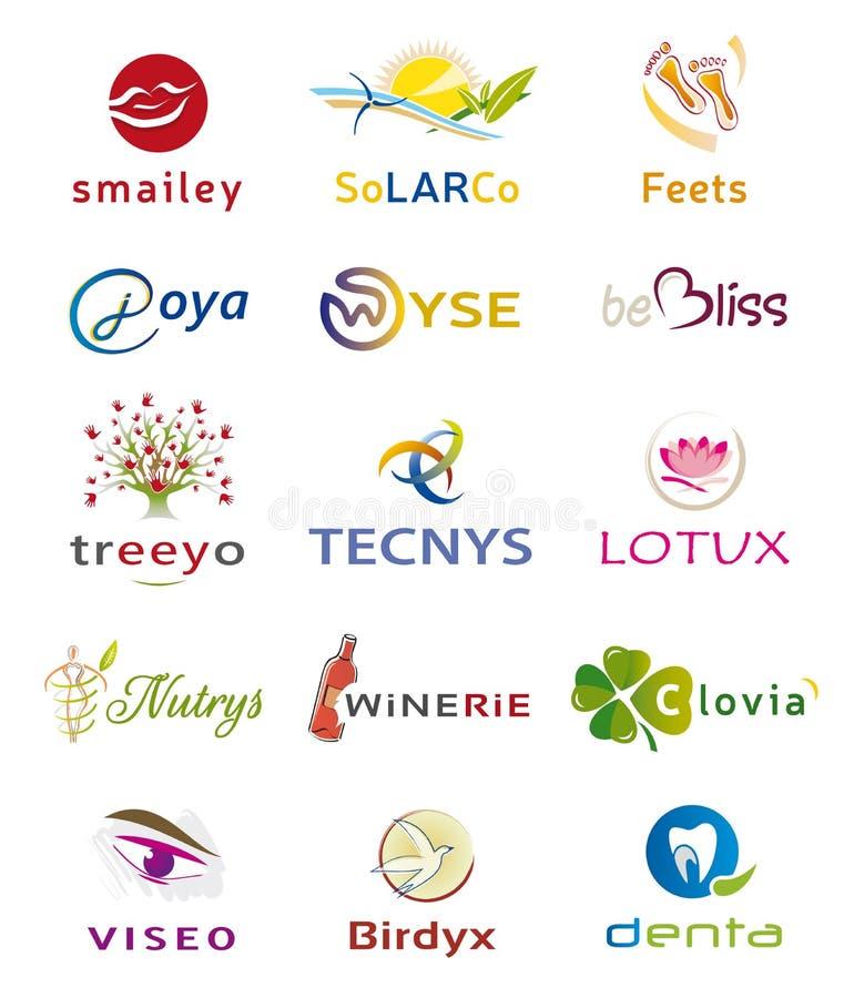 Set Różnorodne ikony i logów projekty - wielokrotność elementy i kolory ilustracji