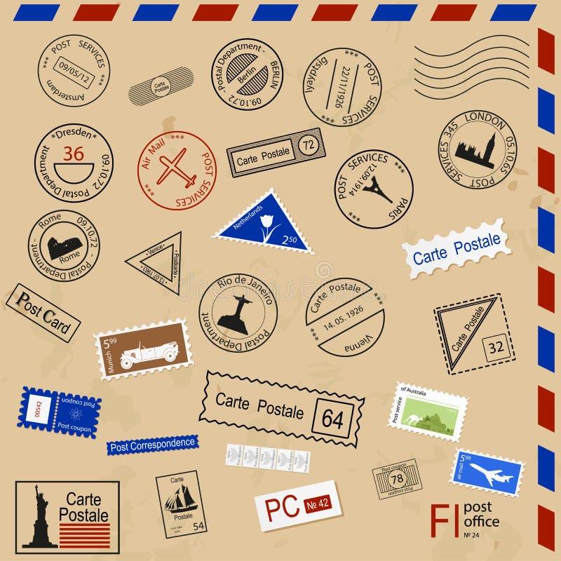 Set różnorodne poczta foki royalty ilustracja