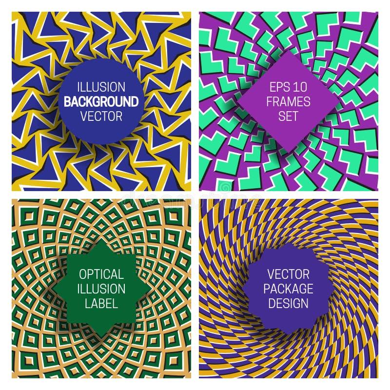 Set różnorodne ramy na okulistycznego złudzenia tło Modni etykietka szablony dla oryginalnego pakuje projekta ilustracja wektor