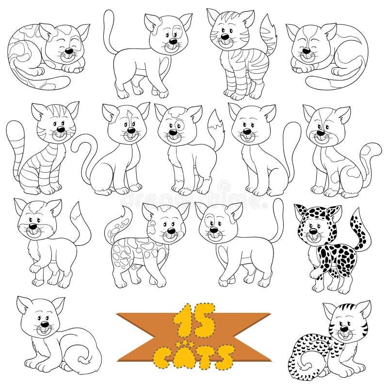 Set różnorodni śliczni koty royalty ilustracja