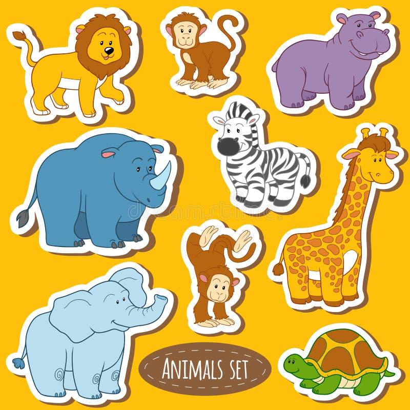 Set różnorodni śliczni zwierzęta, wektorowi majchery safari zwierzęta ilustracja wektor