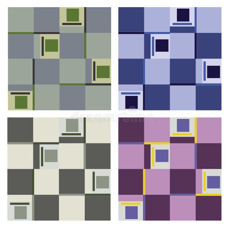 Set różnorodni bezszwowi wzory kwadranty royalty ilustracja