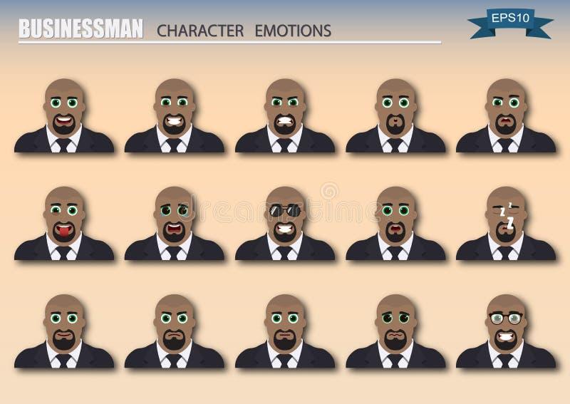 Set różnorodni biznesmenów emoticons royalty ilustracja