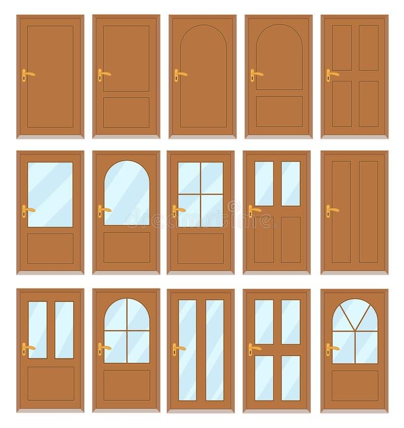 Set różnorodni drzwi na białym tle, akcyjny wektor ja ilustracji