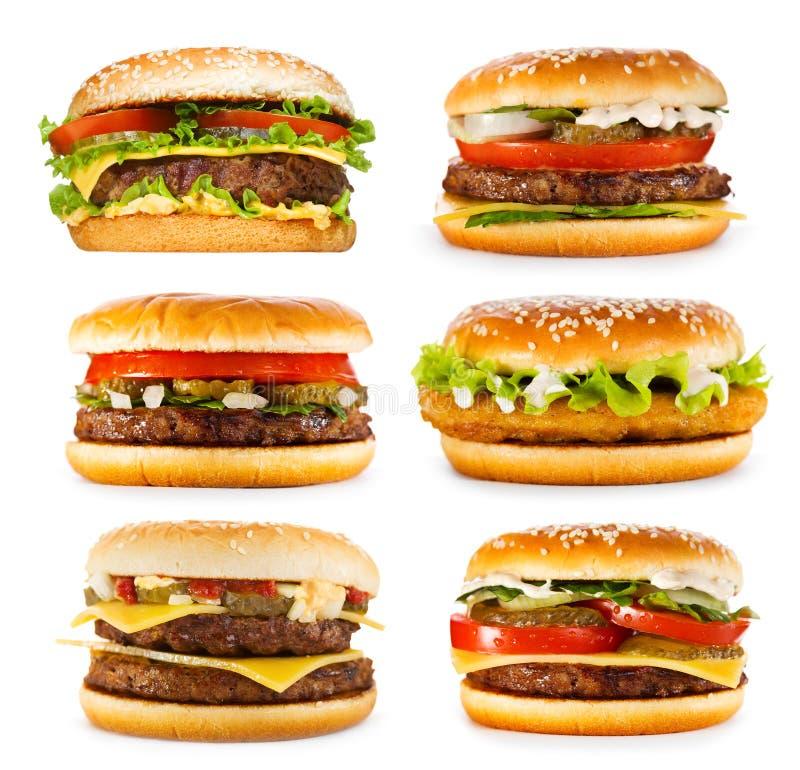Set różnorodni hamburgery zdjęcie stock